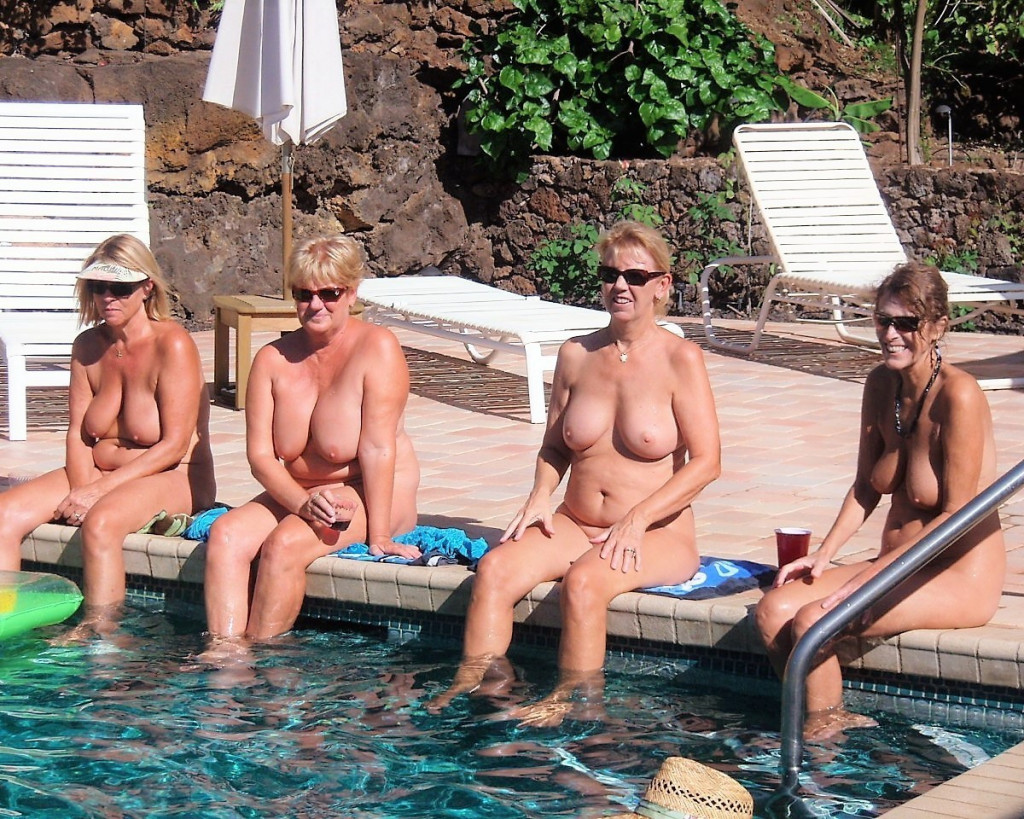 Naked by the pool 011