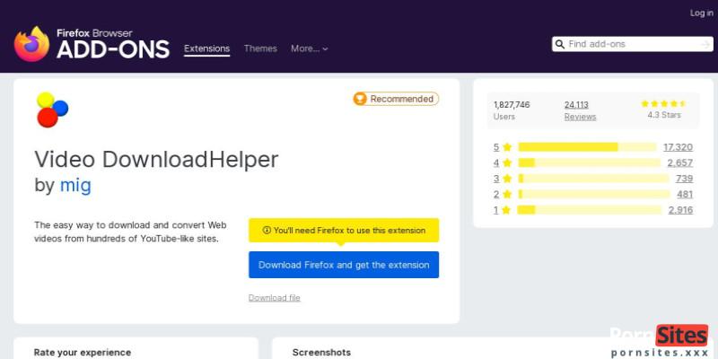 Screenshot DownloadHelper
