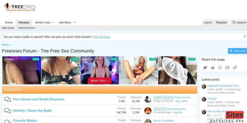 Screenshot FreeOnesForum