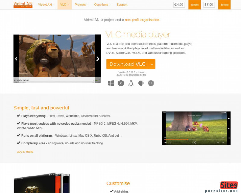 Sito web VLC Mediaplayer da  4. marzo 2021